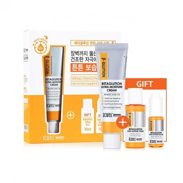 ACWELL Betaglution Ultra Moisture Cream Set Набор для глубокого увлажнения кожи с бета-глюканом Крем + сыворотка