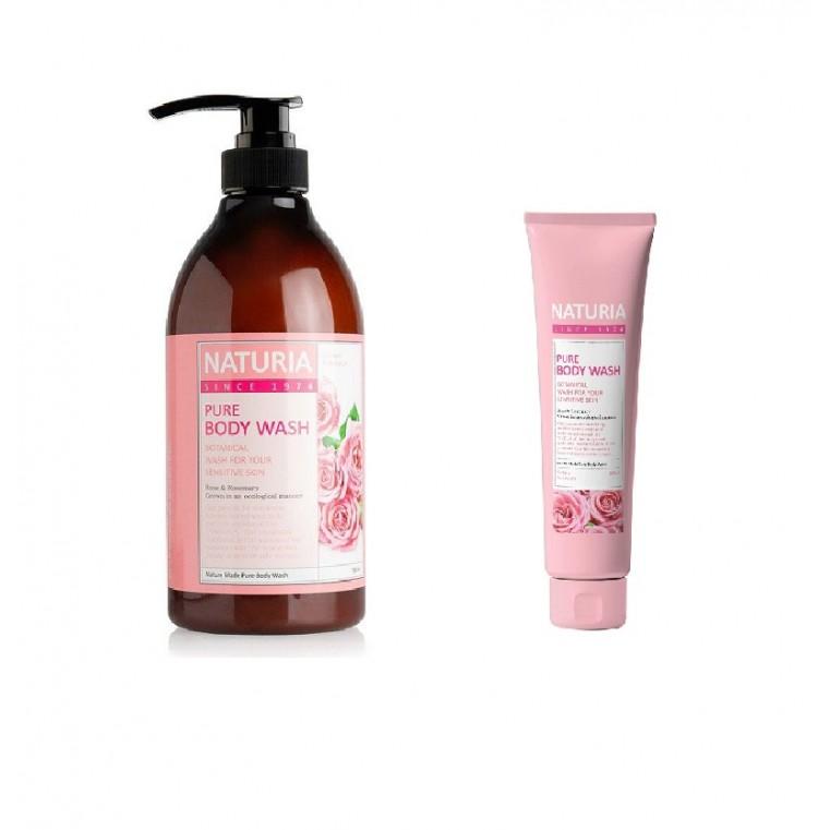 EVAS Naturia Pure Body Wash Rose & Rosemary Гель для душа на основе натуральных экстрактов с нежным ароматом розовой воды, смешанной с лепестками жасмина и розмарином