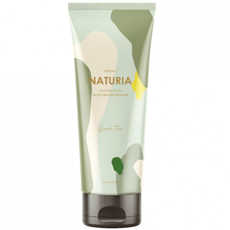 NATURIA Creamy Oil Salt Scrub Green Tea Скраб для тела ЗЕЛЕНЫЙ ЧАЙ