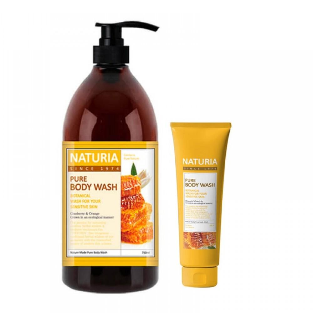 EVAS Naturia Pure Body Wash Honey & White Lily Гель для душа с ароматом букета из лилий, нектарина и сладкого меда