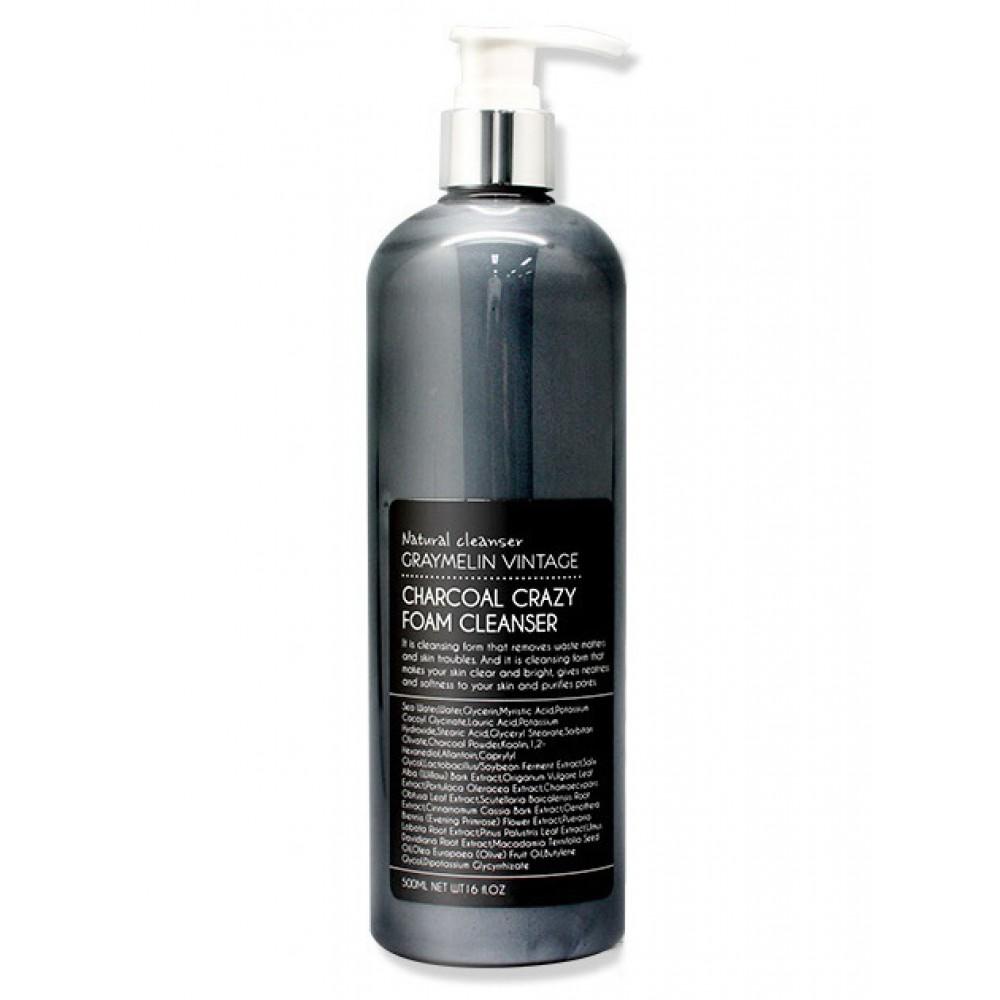 Graymelin CRAZY FOAM CLEANSER (CHARCOAL) Пенка для умывания на основе морской воды с древесным углем очищающая