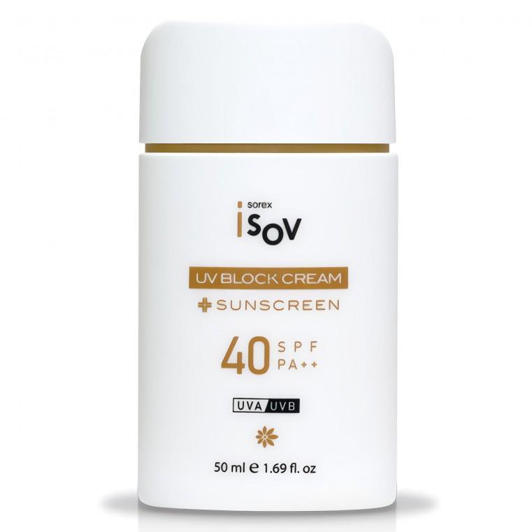 ISOV UV Block Cream Противоотечный солнцезащитный крем с экстрактом брокколи SPF 40++ PA++