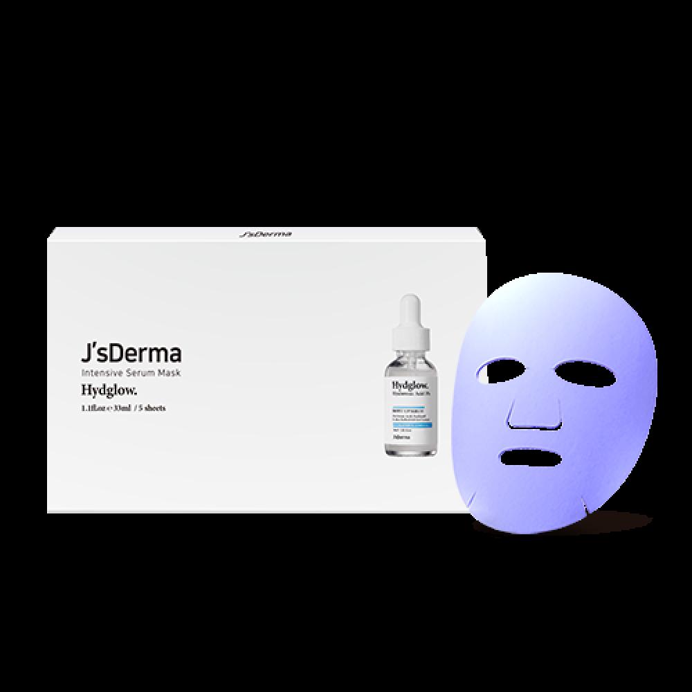 J'S Derma Intensive Serum Mask HydGlow Успокаивающая и увлажняющая маска с азуленом и гиалуроновой кислотой