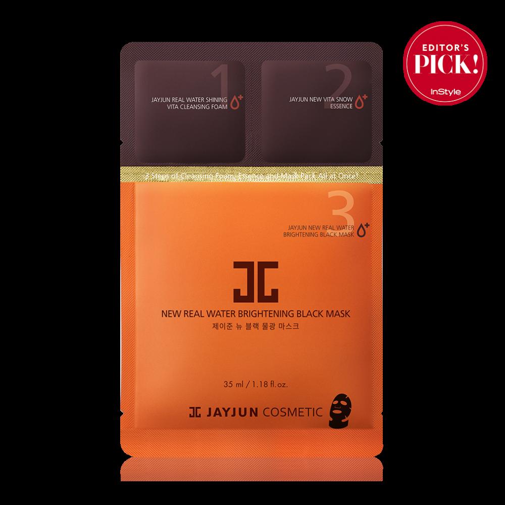 JayJun NEW Real Water Brightening Black Mask Маска тканевая осветляющая увлажняющая черная 3х этапная