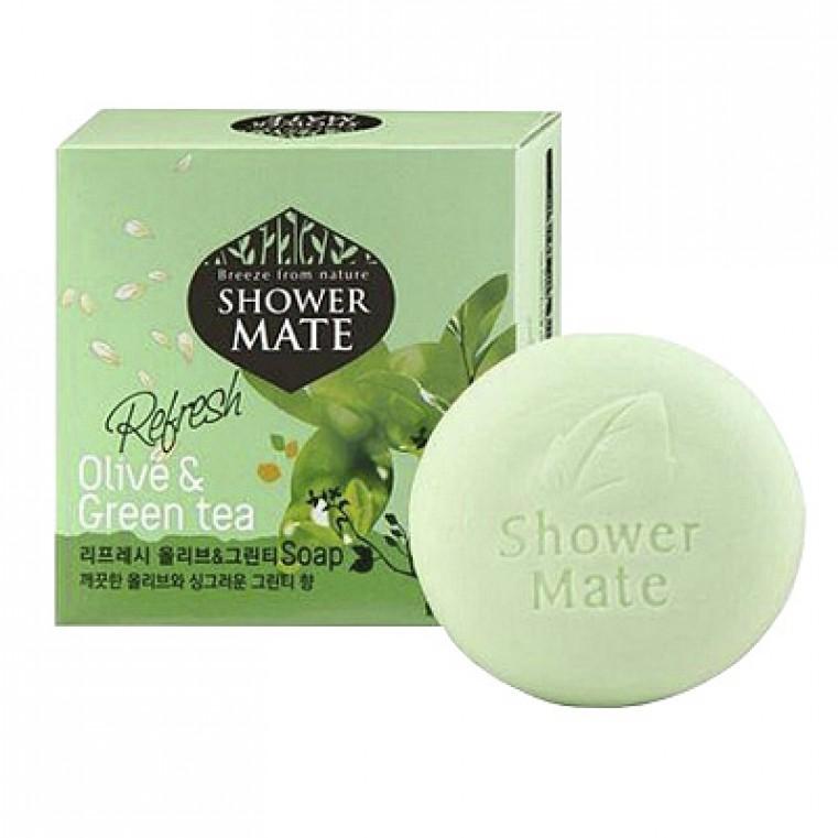 Aekyung Shower Mate Refresh Olive & Green Tea Мыло косметическое Оливки и зеленый чай