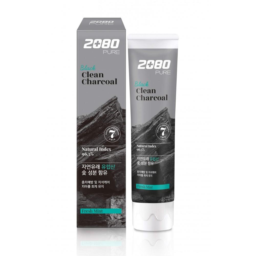 Aekyung Dental Clinic 2080 Pure Black Clean Charcoal Fresh Mint Зубная паста уголь и мята