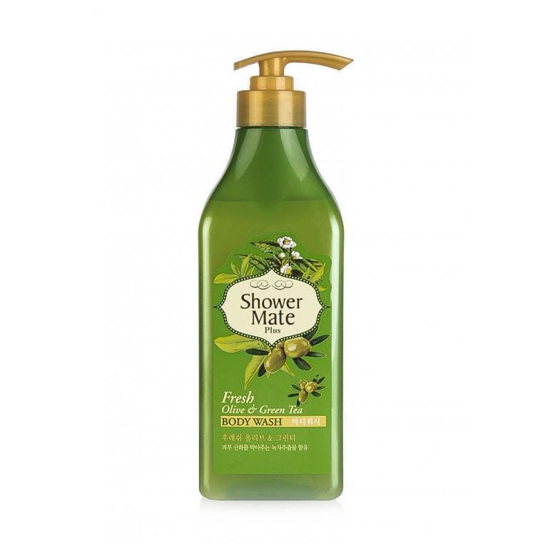 Aekyung Shower Mate Olive & Green Tea Body Wash Гель для душа с маслом оливы и зелёным чаем