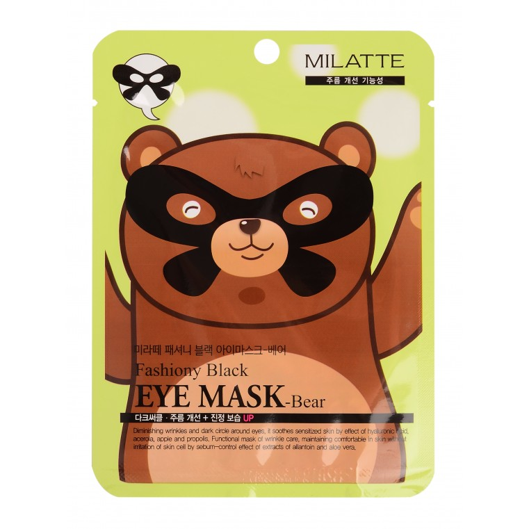 Milatte Fashiony Black Eye Mask Маска для кожи вокруг глаз - мишка