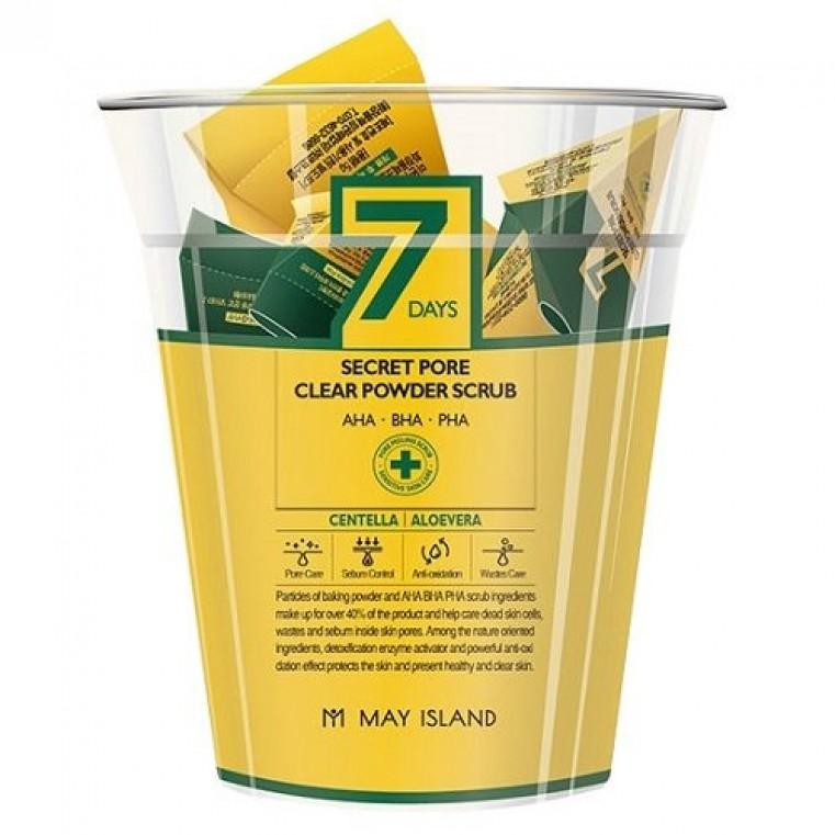 May Island 7 Days Secret Pore Clear Powder Scrub Скраб для глубокого очищения пор с центеллой, 12шт.