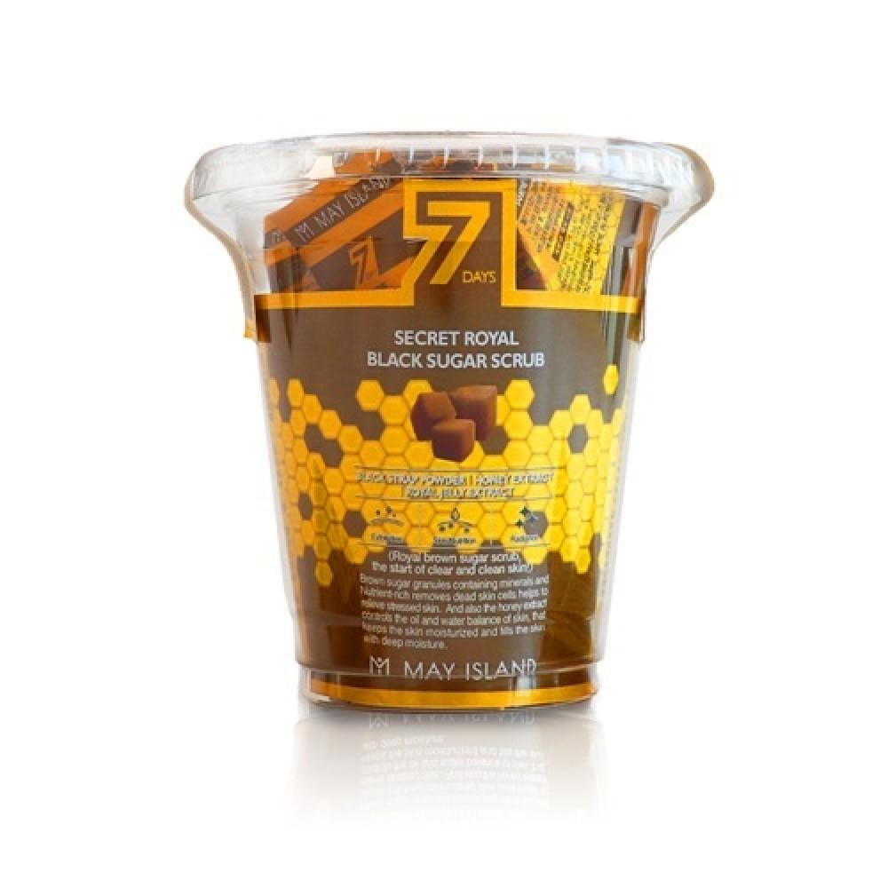 MAY ISLAND 7 Days Secret Royal Black Sugar Scrub Сахарный скраб для глубокого очищения кожи, 12шт.