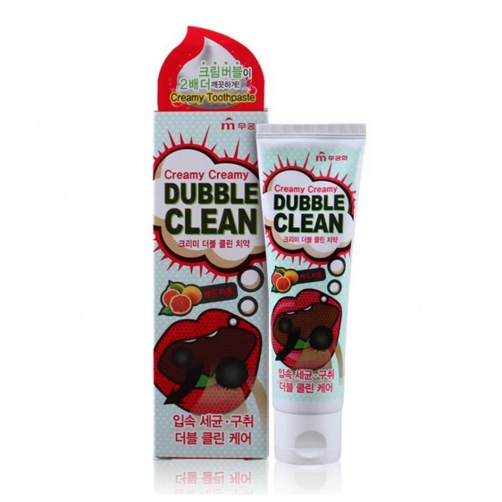 Mugunghwa Creamy Creamy Dubble Clean Кремовая зубная паста с очищающими пузырьками и экстрактом красного грейпфрута
