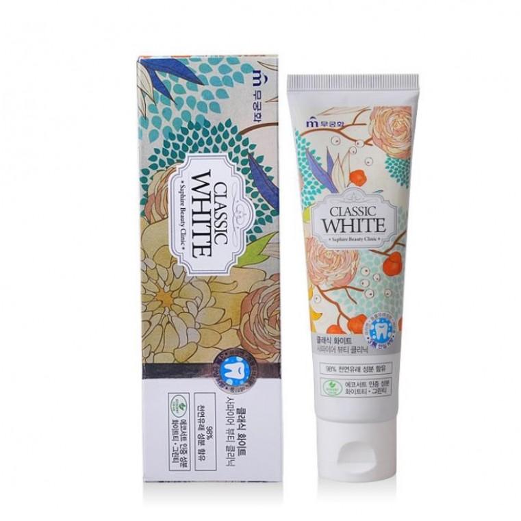 Saphire Beauty Clinic Classic White Отбеливающая зубная паста с ароматом мяты зелёного чая