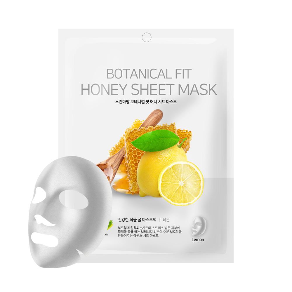 NO:hJ Skinmaman Botanical Fit Honey Sheet Mask Pack Lemon Питательная, увлажняющая, осветляющая маска с мёдом и лимоном