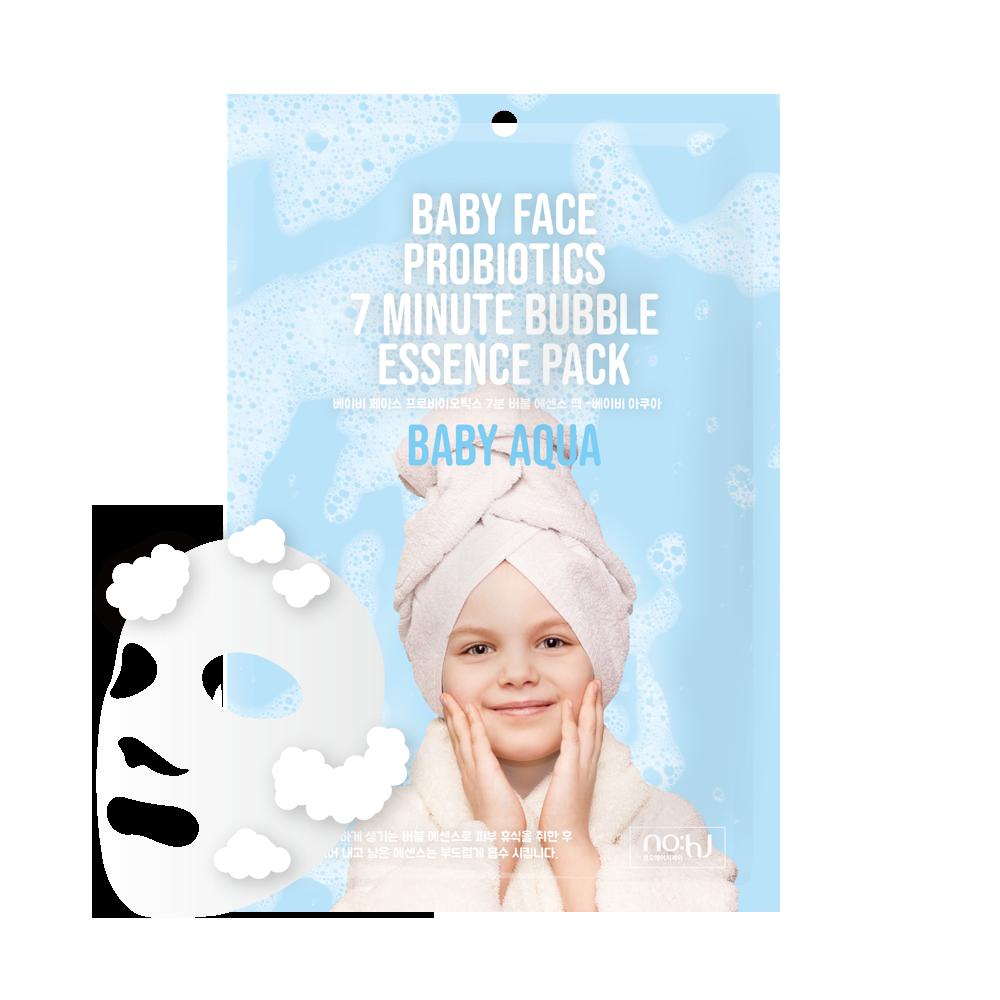 NO:HJ Baby Face Probiotics 7 Minute Bubble Essence Pack Baby Aqua Пузырьковая маска с пробиотиками увлажняющая