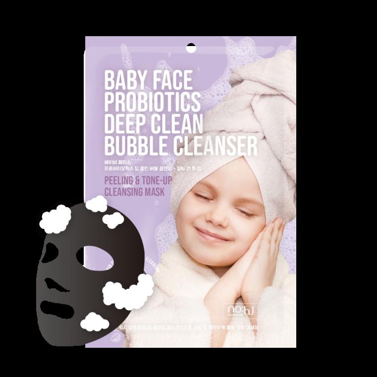 NO:HJ Baby Face Probiotics Deep Clean Bubble Cleanser Peeling & Tone-Up Очищающая пузырьковая маска с пробиотиками для отшелушивания и осветления