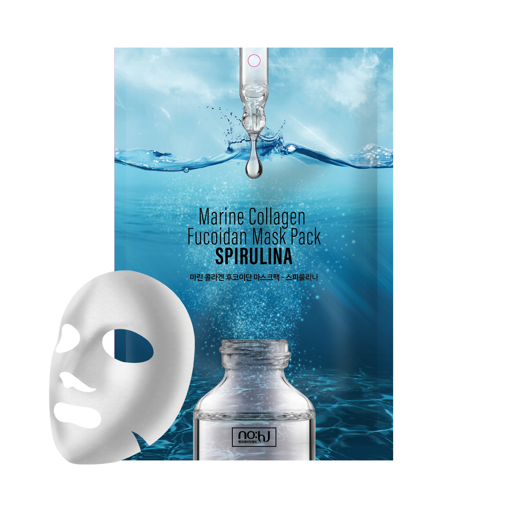 NO:HJ Marine Collagen Fucoidan Mask Pack SPIRULINA Увлажняющая, антиоксидантная маска с коллагеном и спирулиной