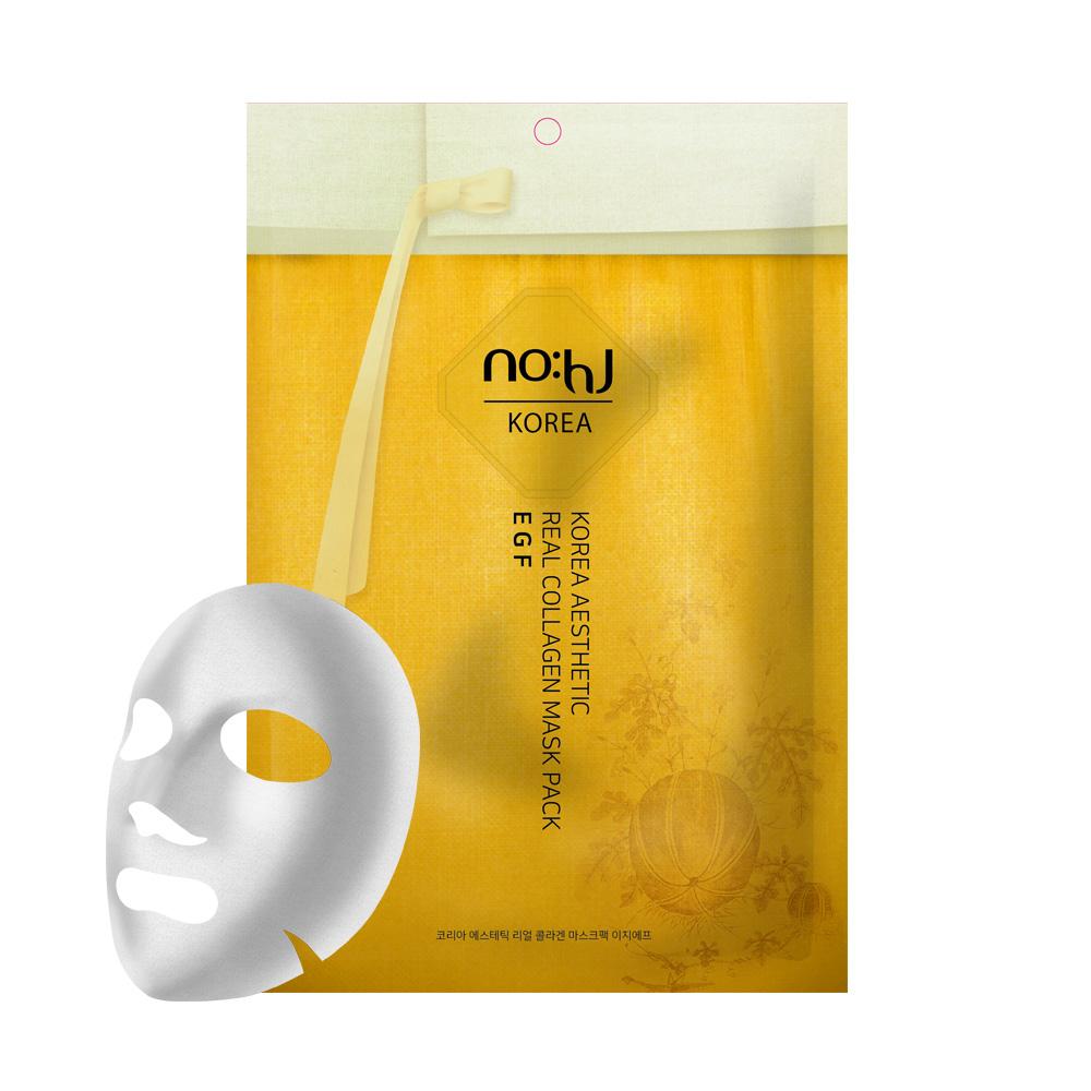NO:hJ Korea Aesthetic Real Collagen Mask Pack EGF Антивозрастная, регенирирующая маска с коллагеном и EGF