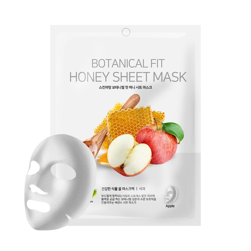 NO:hJ Skin Maman Botanical Fit Honey Sheet Mask Apple Питательная, увлажняющая, успокаивающая маска с мёдом и яблоком