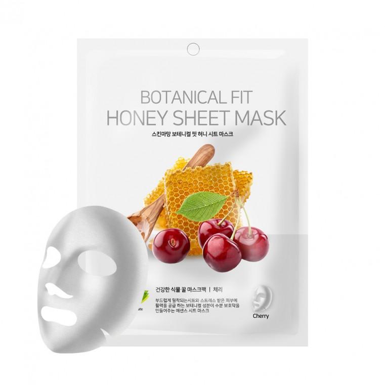 NO:HJ Skin Maman Botanical Fit Honey Sheet Mask Cherry Питательная, увлажняющая, осветляющая маска с мёдом и вишней