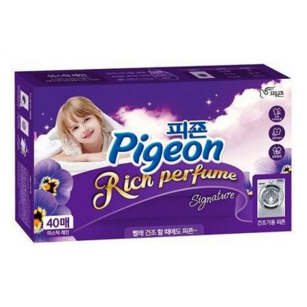 Pigeon Rich Perfume Signature Dryer Sheet Mystic Rain Кондиционер для белья 40шт