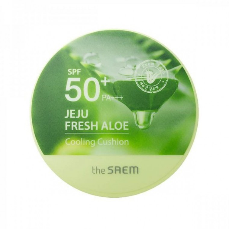 The Saem Jeju Fresh Aloe Cooling Cushion Natural Beige Кушон охлаждающий с алоэ вера SPF50+ PA+++