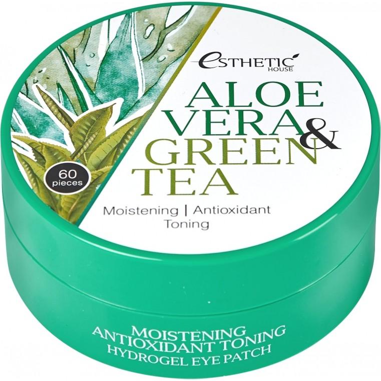 Esthetic House Aloe Vera & Green Tea Hydrogel Eye Patch Увлажняющие гидрогелевые патчи для век с алоэ и зелёным чаем