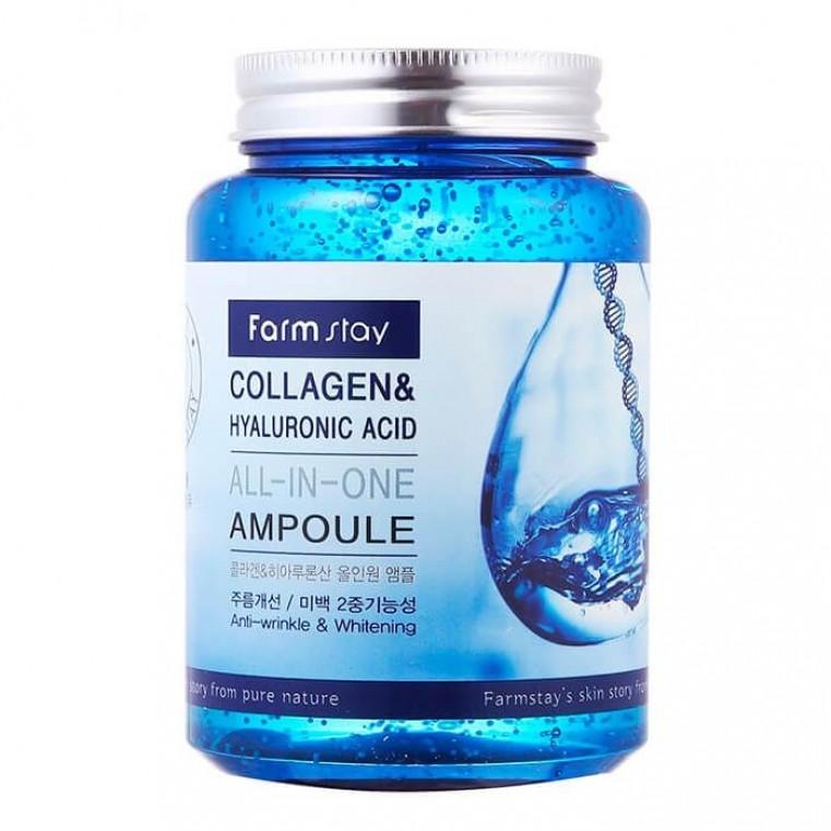 FarmStay Collagen & Hyaluronic Acid All-in-One Ampoule Ампульная сыворотка с коллагеном и гиалоурановой кислотой