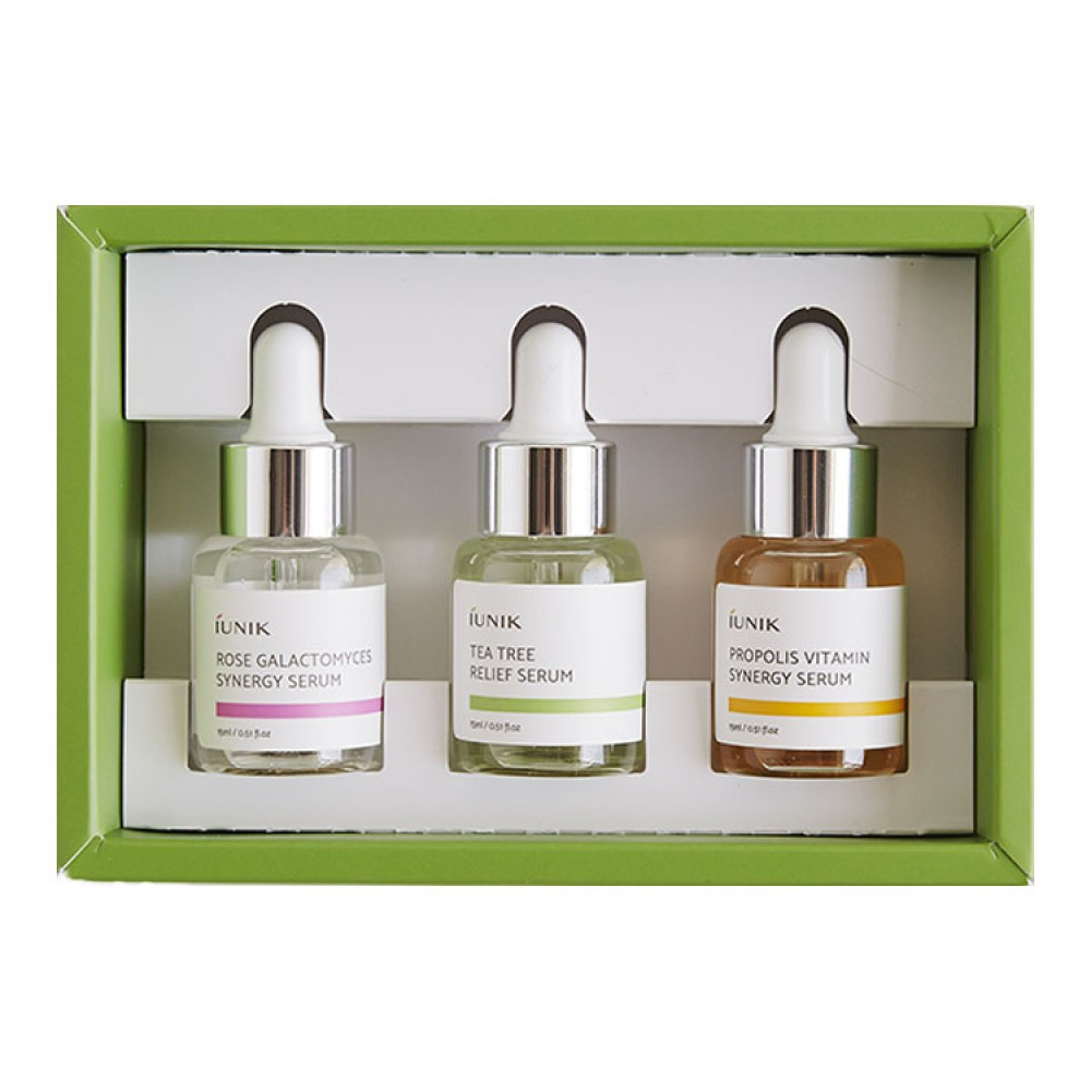 iUNIK Daily Serum Trial Kit Набор миниатюр: сыворотка с розой и галактомисисом + Витаминная сыворотка с прополисом + Сыворотка с экстрактом чайного дерева