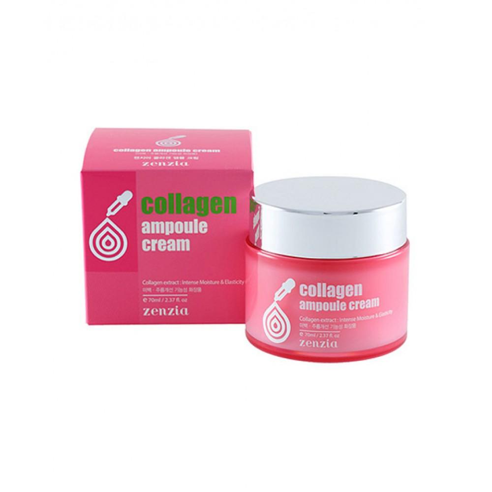 Jigott Zenzia Collagen Ampoule Cream Ампульный крем для интенсивного увлажнения и регенерации лица с коллагеном