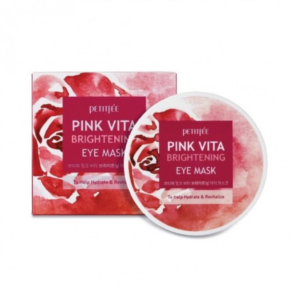 Petitfee Pink Vita Brightening Eye Mask Осветляющие интенсивно увлажняющие патчи
