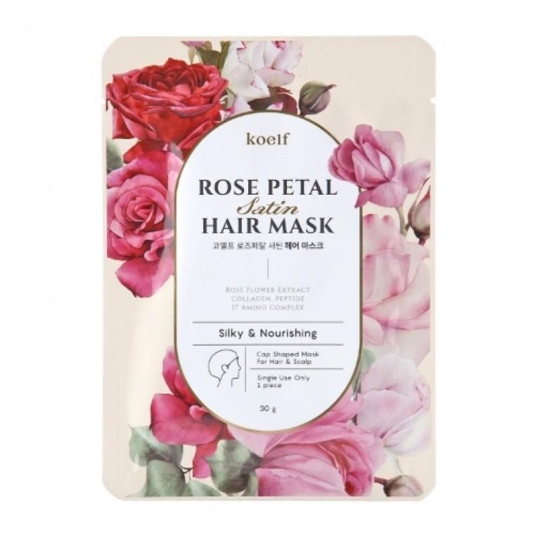 KOELF Rose Petal Satin Hair Mask Маска-шапочка для волос с экстрактом розы