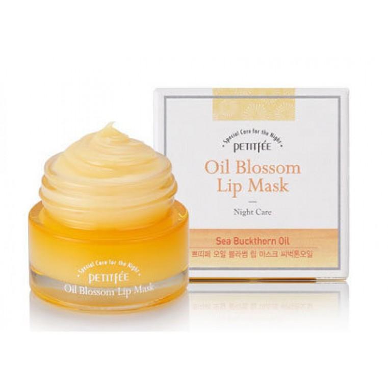 Petitfee Oil Blossom Lip Mask Sea Buckthorn Oil Ночная маска для губ c маслом облепихи