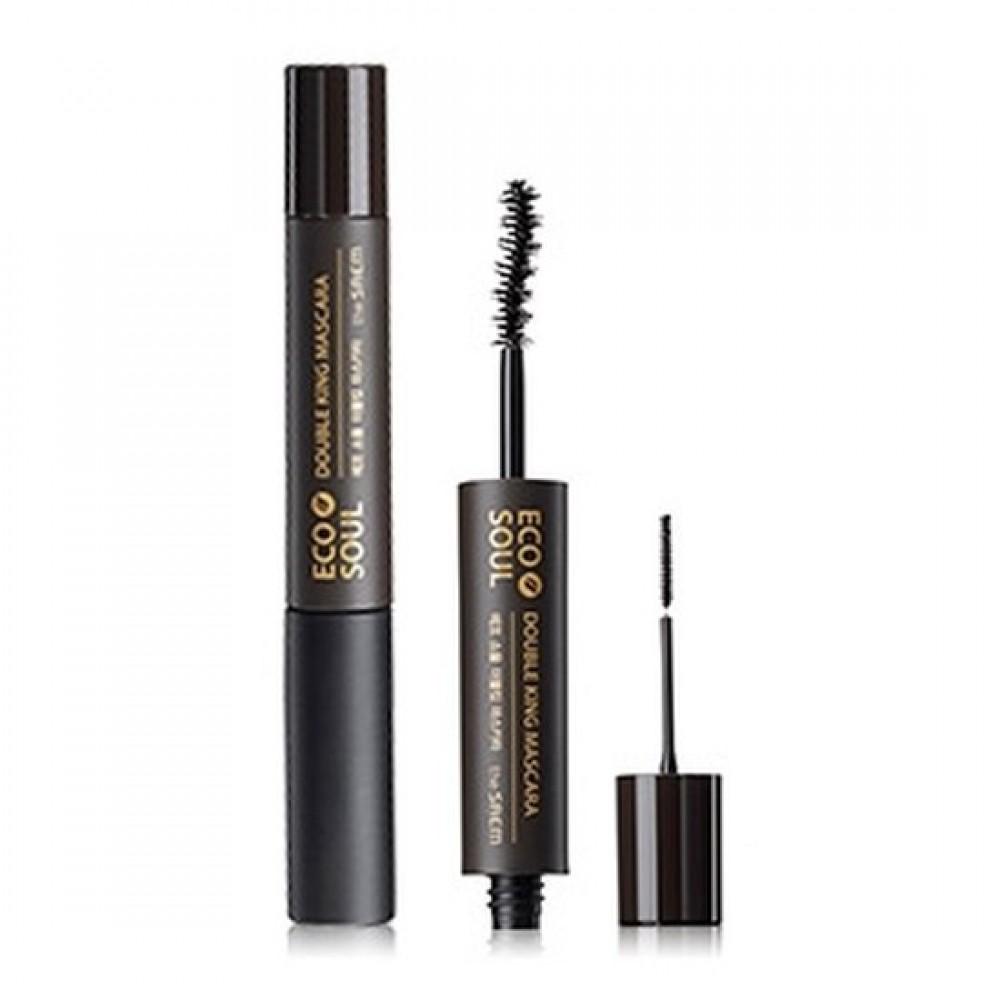The Saem Eco Soul Double King Mascara 01 Black Тушь для ресниц с двумя кисточками - черная
