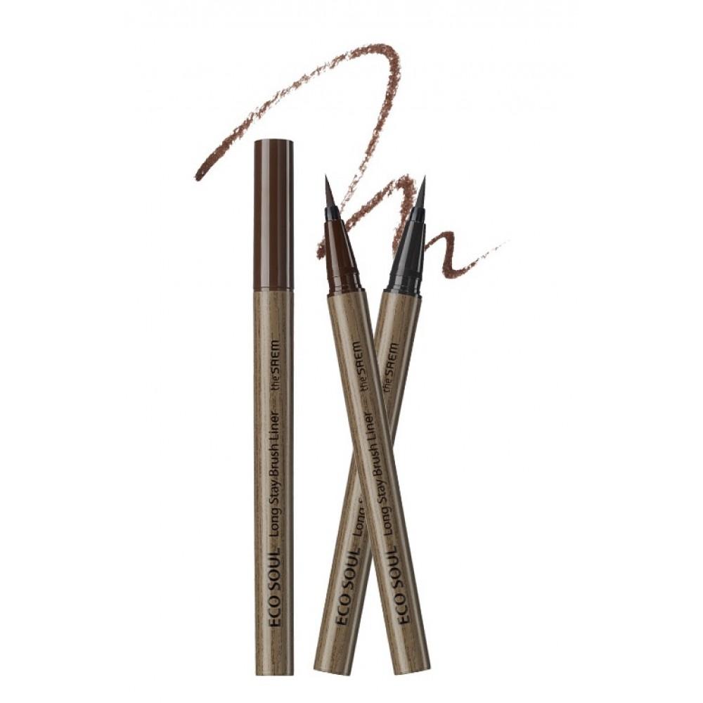 THE SAEM Eco Soul Long Stay Brush Liner Кисть-лайнер для глаз с ультратонкой кистью 02 Brown – коричневый