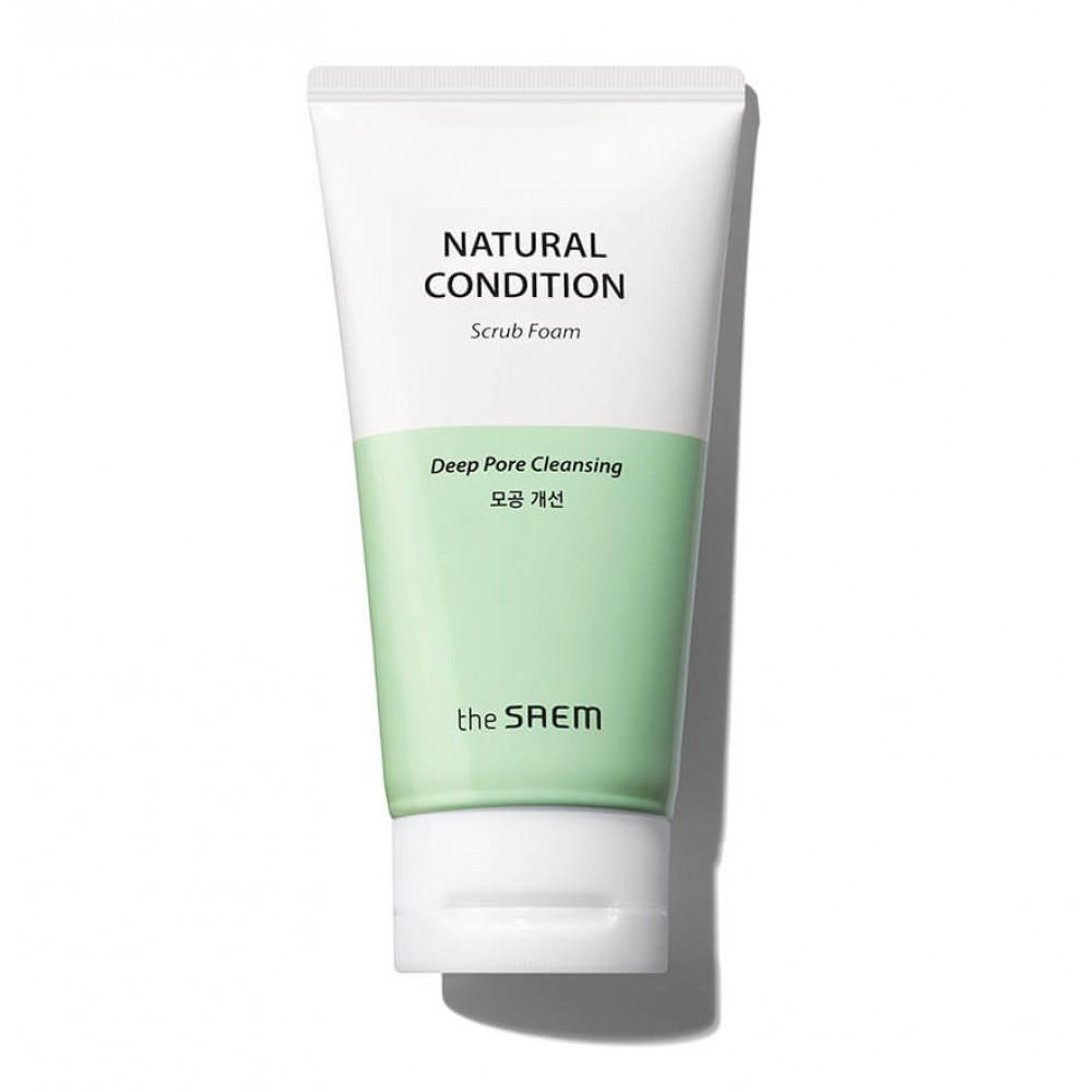 The Saem Natural Condition Scrub Foam [Deep pore cleansing] Очищающая пенка с содой и яичным белком