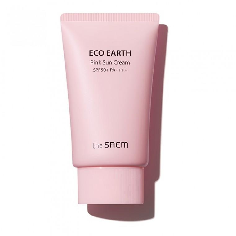 The Saem Sun Eco Earth Power Pink Sun Cream Солнцезащитный крем для проблемной кожи SPF50+ PA++++
