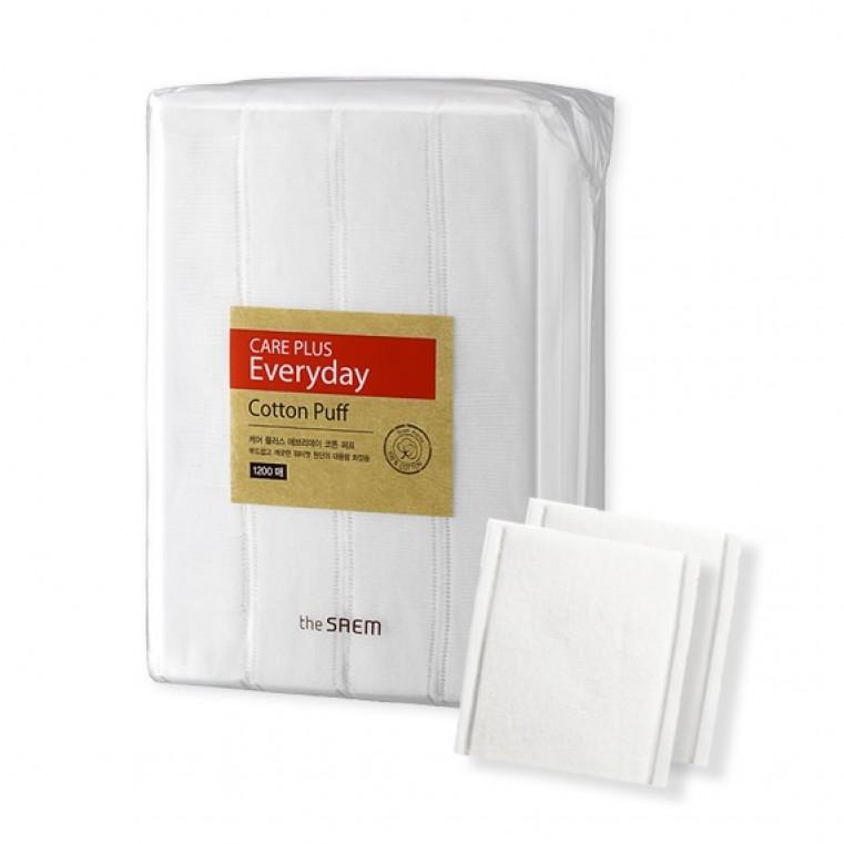 THE SAEM Care Plus Everyday Cotton Puff 1200 pcs Спонжи косметические из 100% хлопка, 1200 штук