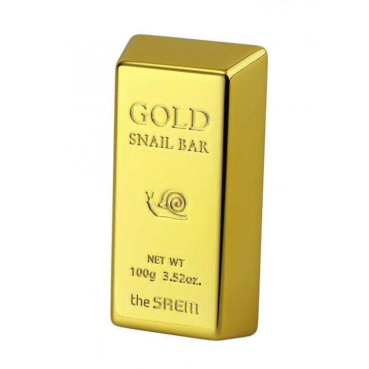 THE SAEM Gold Snail Bar Мыло для умывания с экстрактом золота, муцина улитки, оливы